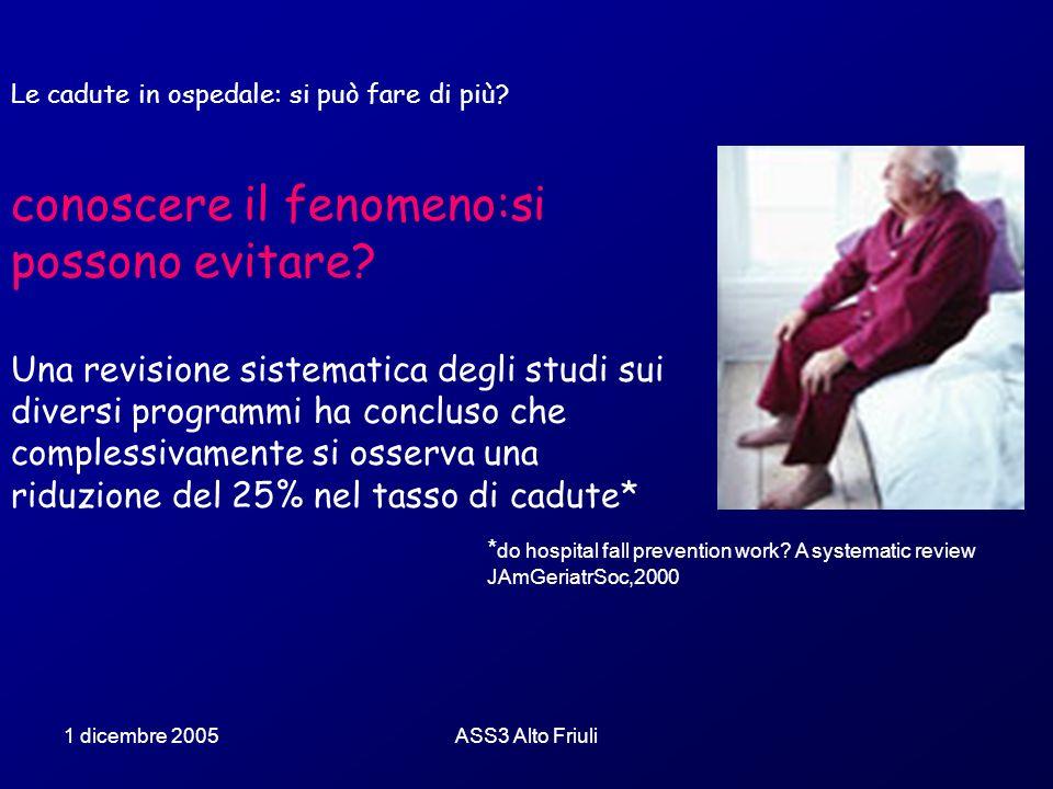 1 dicembre 2005ASS3 Alto Friuli Le cadute in ospedale: si può fare di più? conoscere il fenomeno:si possono evitare? Una revisione sistematica degli s