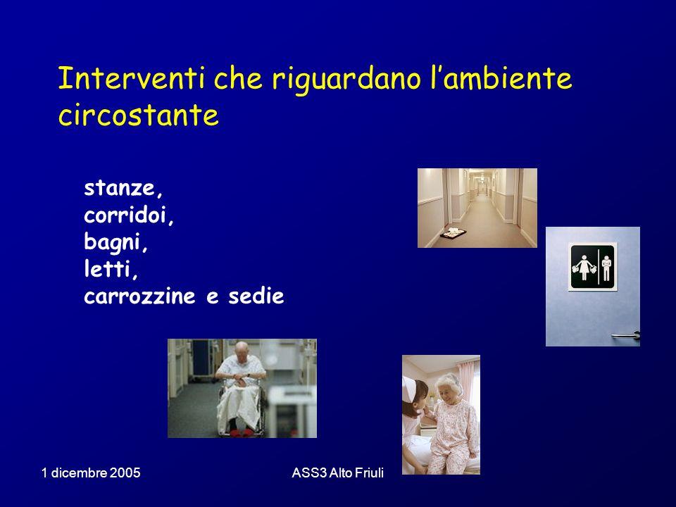 1 dicembre 2005ASS3 Alto Friuli Interventi che riguardano lorganizzazione facilitare il riconoscimento far soggiornare in posizioni strategiche Costruire procedure di comportamento si no