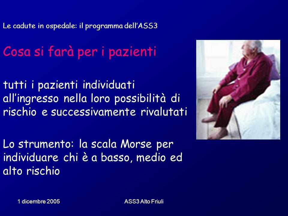1 dicembre 2005ASS3 Alto Friuli Le cadute in ospedale: il programma dellASS3 Cosa si farà per i pazienti tutti i pazienti individuati allingresso nell