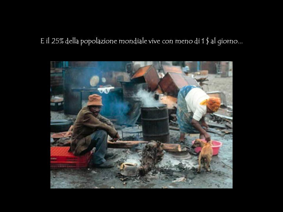 E il 25% della popolazione mondiale vive con meno di 1 $ al giorno...