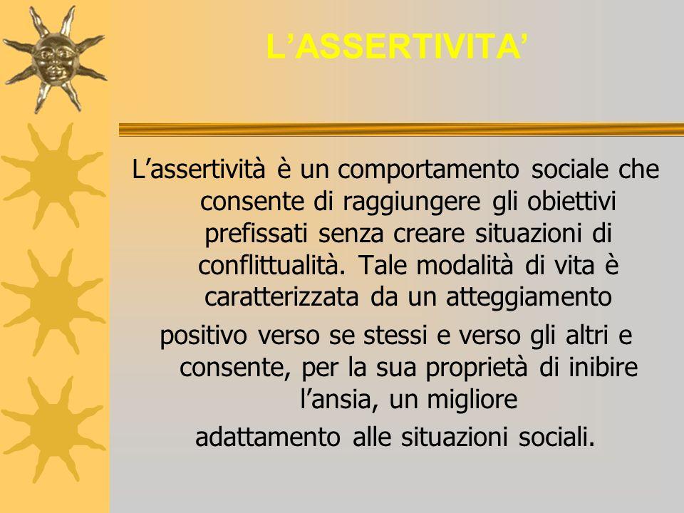 LASSERTIVITA Lassertività è un comportamento sociale che consente di raggiungere gli obiettivi prefissati senza creare situazioni di conflittualità. T