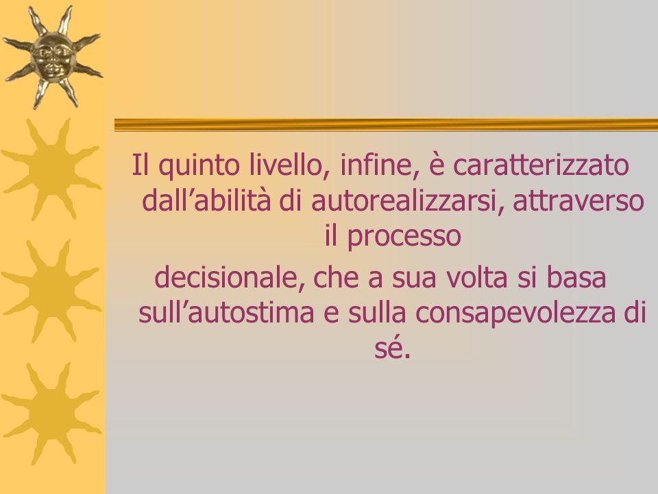Il quinto livello, infine, è caratterizzato dallabilità di autorealizzarsi, attraverso il processo decisionale, che a sua volta si basa sullautostima e sulla consapevolezza di sé.