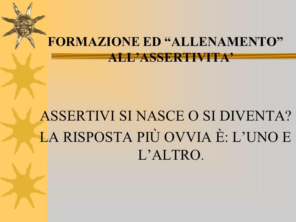 FORMAZIONE ED ALLENAMENTO ALLASSERTIVITA ASSERTIVI SI NASCE O SI DIVENTA.