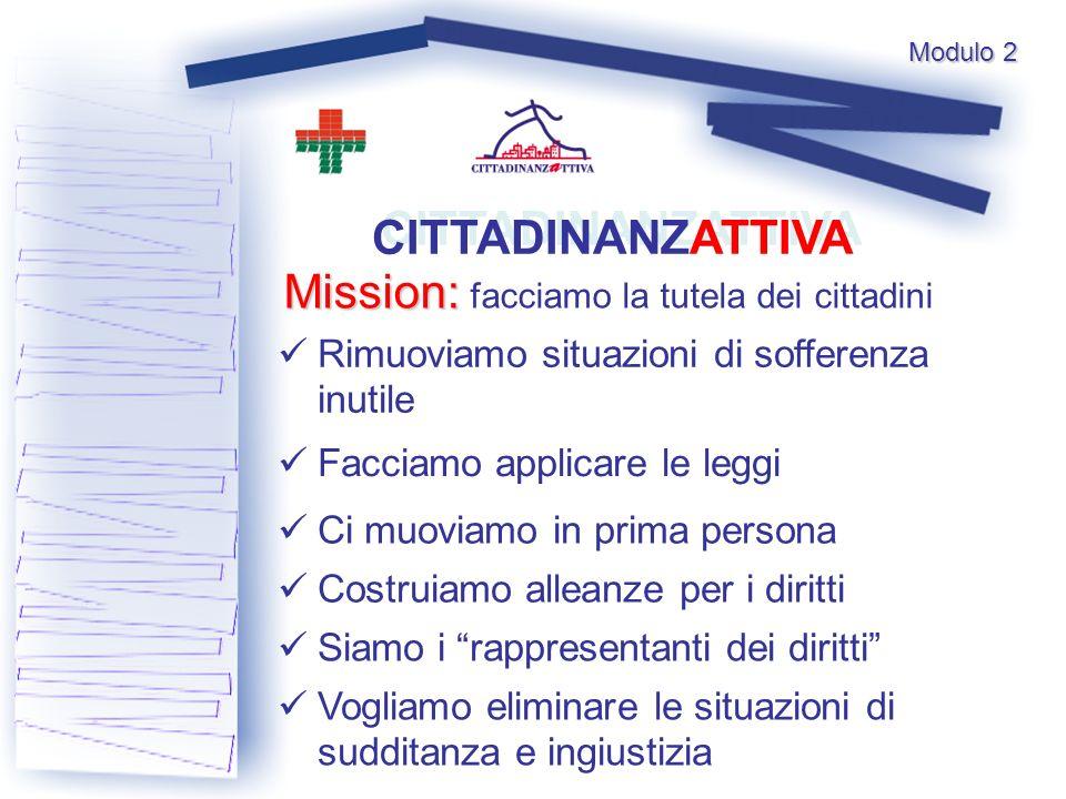 Modulo 2 CITTADINANZATTIVA Mission: Mission: facciamo la tutela dei cittadini Rimuoviamo situazioni di sofferenza inutile Facciamo applicare le leggi
