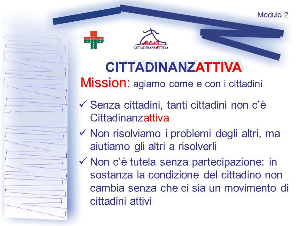 Modulo 2 CITTADINANZATTIVA Senza cittadini, tanti cittadini non cè Cittadinanzattiva Non risolviamo i problemi degli altri, ma aiutiamo gli altri a ri
