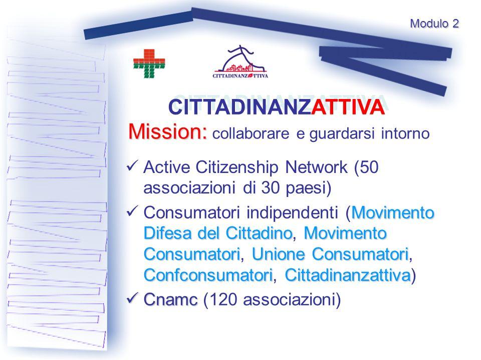 Modulo 2 CITTADINANZATTIVA Active Citizenship Network (50 associazioni di 30 paesi) Mission: Mission: collaborare e guardarsi intorno Movimento Difesa