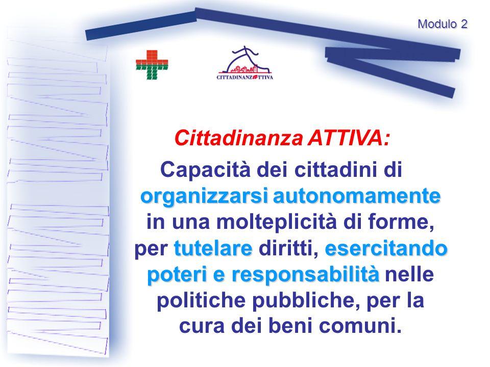 Modulo 2 Cittadinanza ATTIVA: organizzarsi autonomamente tutelareesercitando poteri e responsabilità Capacità dei cittadini di organizzarsi autonomame