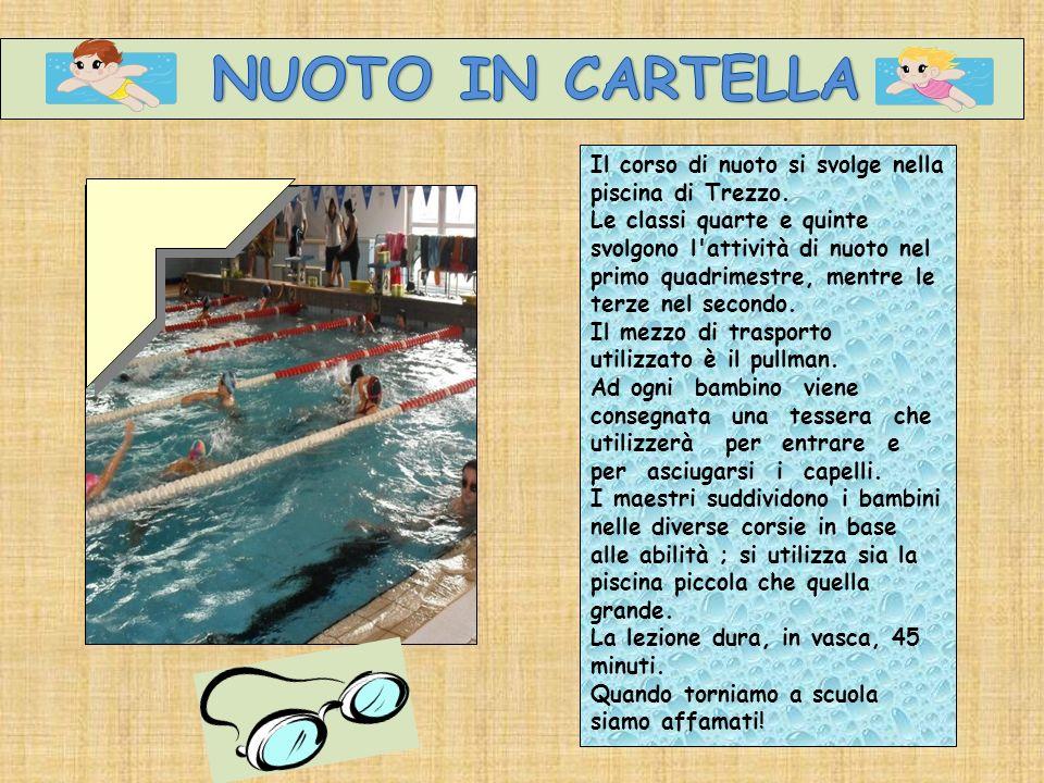 Il corso di nuoto si svolge nella piscina di Trezzo. Le classi quarte e quinte svolgono l'attività di nuoto nel primo quadrimestre, mentre le terze ne