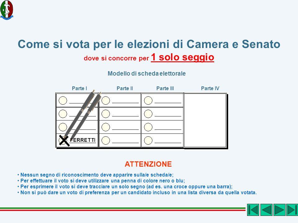 Modello di scheda elettorale Nessun segno di riconoscimento deve apparire sulla/e scheda/e; Per effettuare il voto si deve utilizzare una penna di col