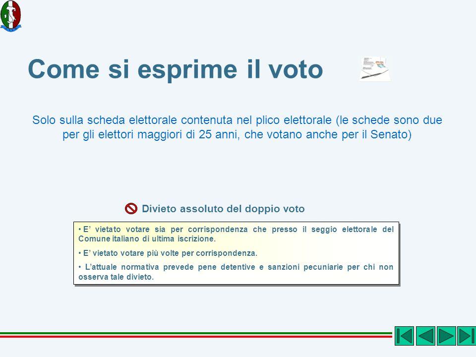 Come si esprime il voto E vietato votare sia per corrispondenza che presso il seggio elettorale del Comune italiano di ultima iscrizione. E vietato vo