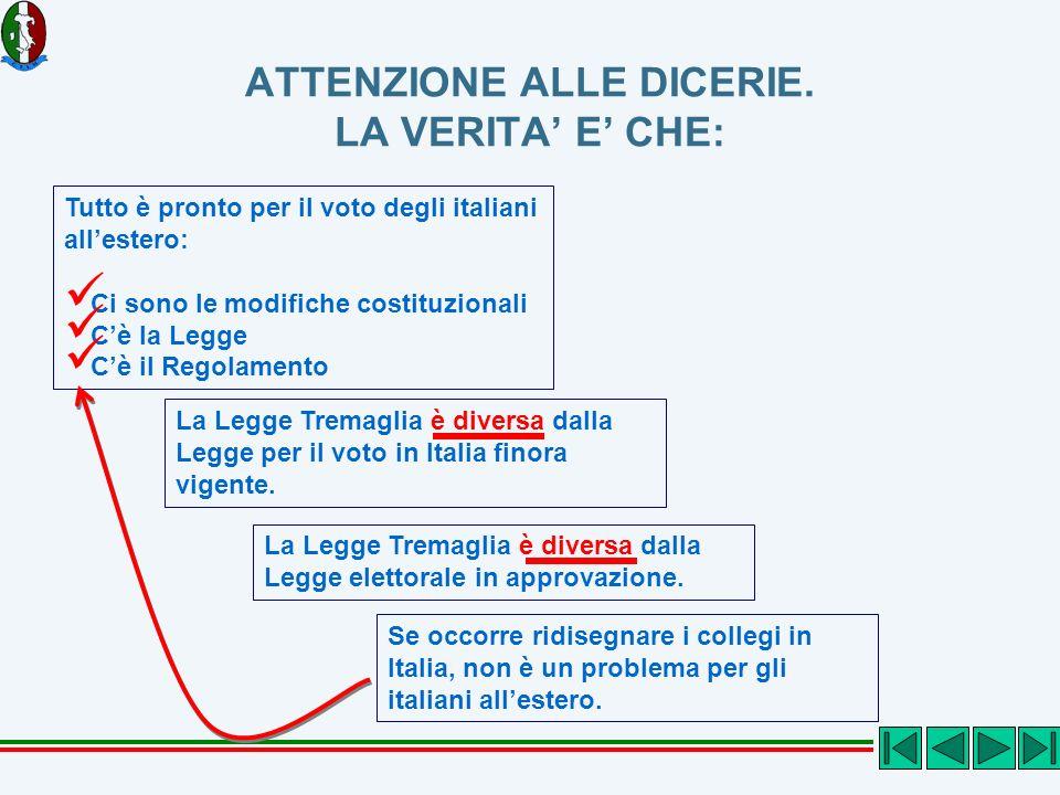 ATTENZIONE ALLE DICERIE. LA VERITA E CHE: Tutto è pronto per il voto degli italiani allestero: Ci sono le modifiche costituzionali Cè la Legge Cè il R