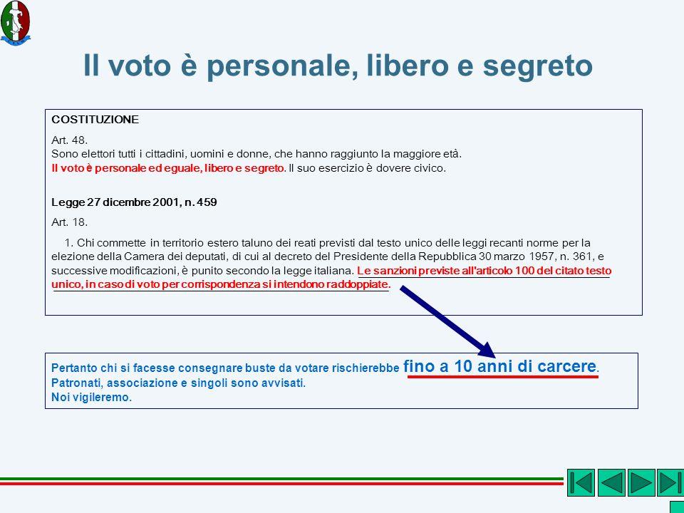 Il voto è personale, libero e segreto COSTITUZIONE Art.