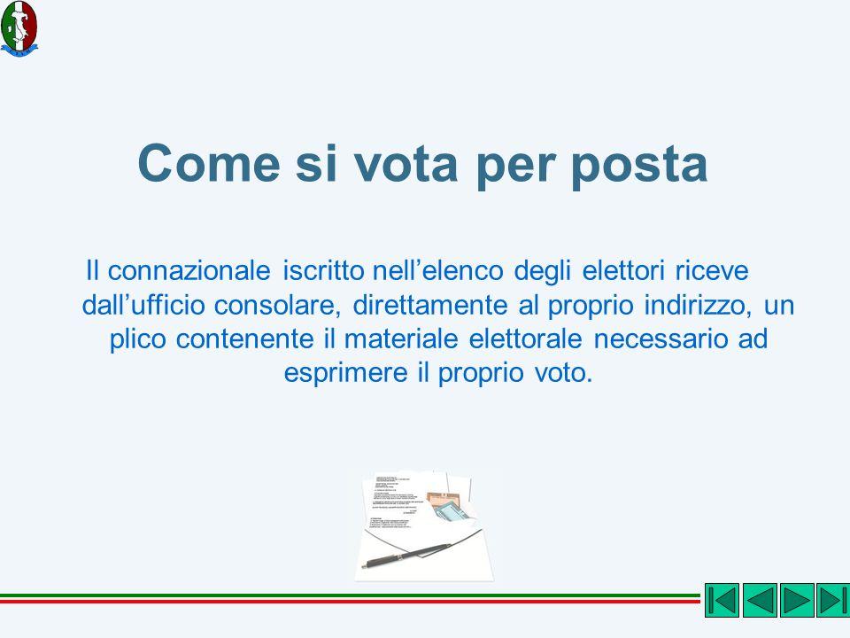 Come si vota per posta Il connazionale iscritto nellelenco degli elettori riceve dallufficio consolare, direttamente al proprio indirizzo, un plico co