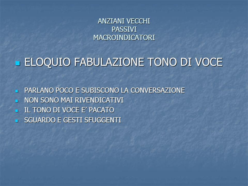 ANZIANI VECCHI PASSIVI MACROINDICATORI ELOQUIO FABULAZIONE TONO DI VOCE ELOQUIO FABULAZIONE TONO DI VOCE PARLANO POCO E SUBISCONO LA CONVERSAZIONE PAR