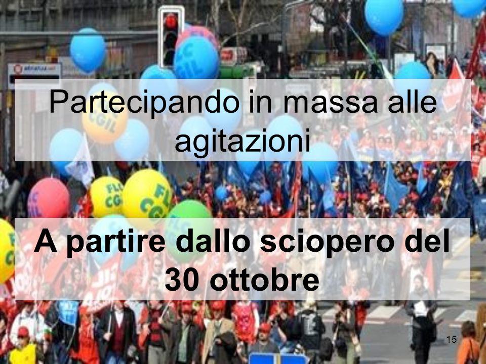 15 Partecipando in massa alle agitazioni A partire dallo sciopero del 30 ottobre