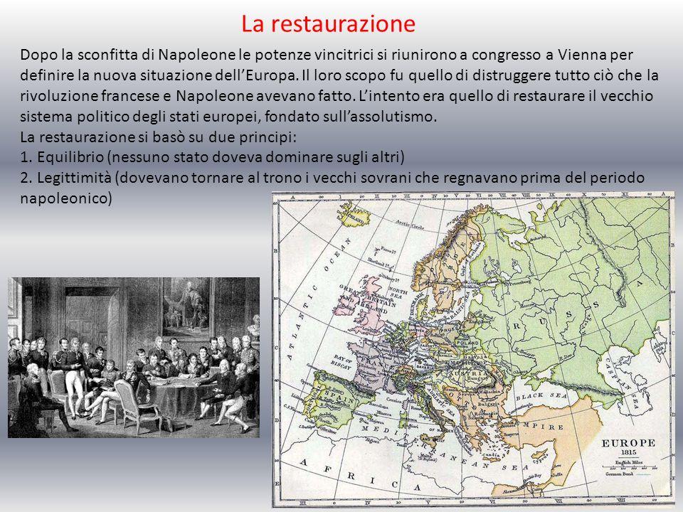 La restaurazione Dopo la sconfitta di Napoleone le potenze vincitrici si riunirono a congresso a Vienna per definire la nuova situazione dellEuropa. I