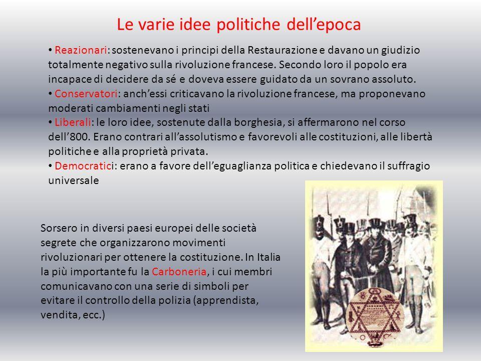 Le varie idee politiche dellepoca Reazionari: sostenevano i principi della Restaurazione e davano un giudizio totalmente negativo sulla rivoluzione fr