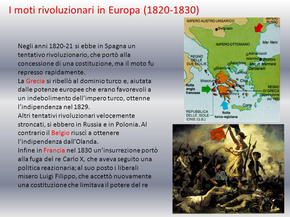 I moti rivoluzionari in Europa (1820-1830) Negli anni 1820-21 si ebbe in Spagna un tentativo rivoluzionario, che portò alla concessione di una costitu