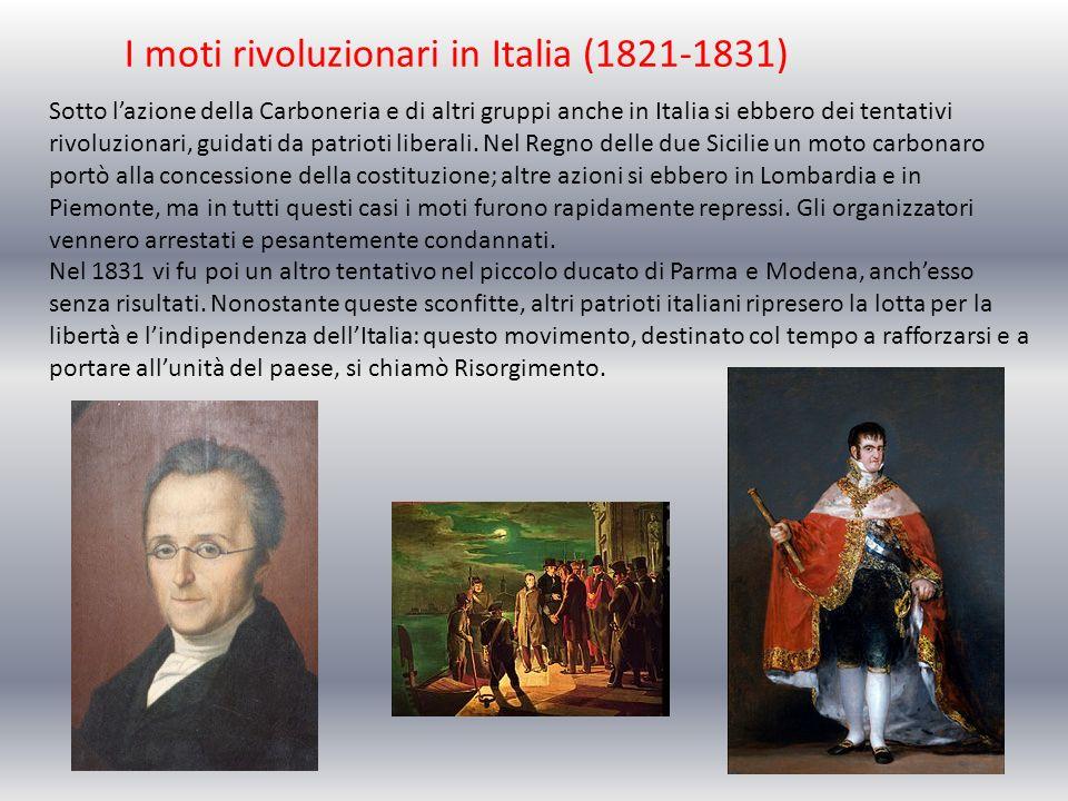 I moti rivoluzionari in Italia (1821-1831) Sotto lazione della Carboneria e di altri gruppi anche in Italia si ebbero dei tentativi rivoluzionari, gui