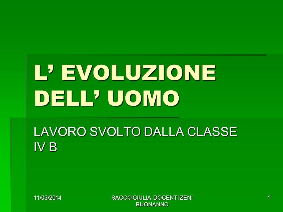 11/03/2014SACCO GIULIA DOCENTI ZENI BUONANNO 1 L EVOLUZIONE DELL UOMO LAVORO SVOLTO DALLA CLASSE IV B