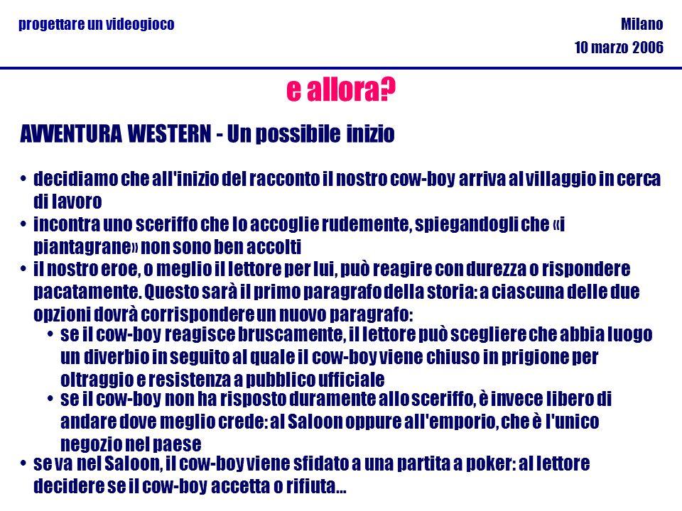 Milano 10 marzo 2006 progettare un videogioco e allora? AVVENTURA WESTERN - Un possibile inizio decidiamo che all'inizio del racconto il nostro cow-bo