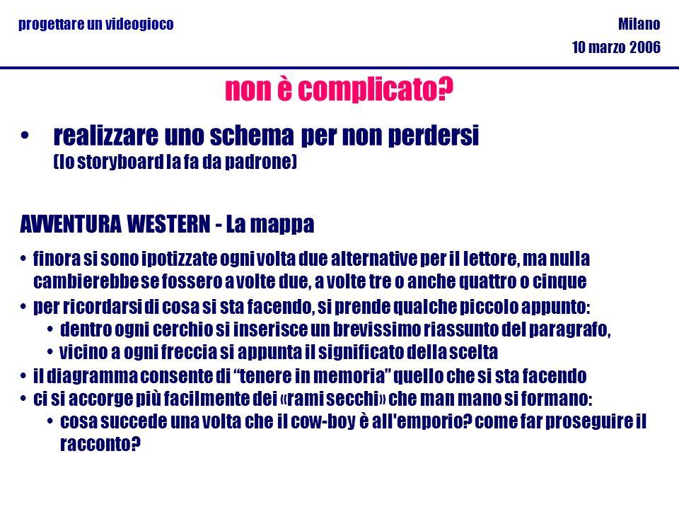 Milano 10 marzo 2006 progettare un videogioco realizzare uno schema per non perdersi (lo storyboard la fa da padrone) non è complicato? AVVENTURA WEST