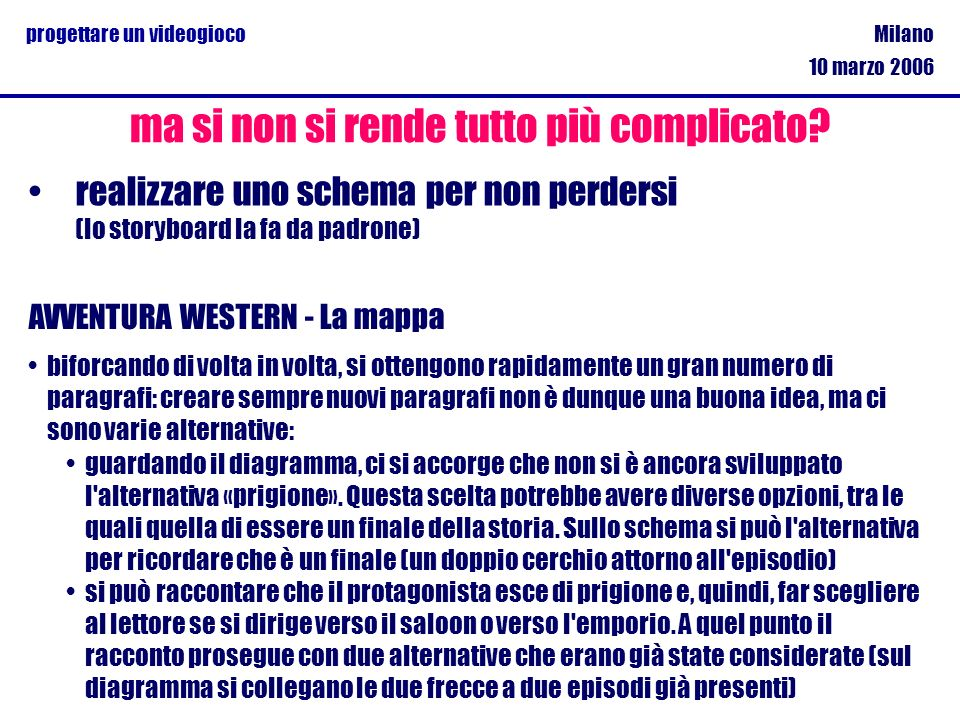 Milano 10 marzo 2006 progettare un videogioco realizzare uno schema per non perdersi (lo storyboard la fa da padrone) ma si non si rende tutto più com