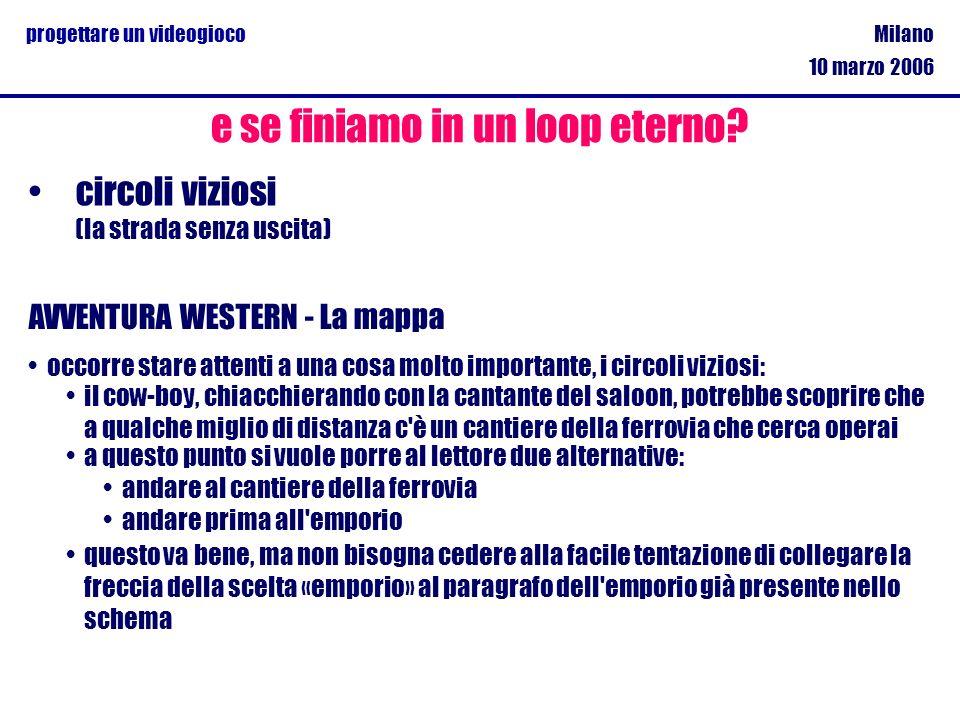 Milano 10 marzo 2006 progettare un videogioco circoli viziosi (la strada senza uscita) e se finiamo in un loop eterno? AVVENTURA WESTERN - La mappa oc