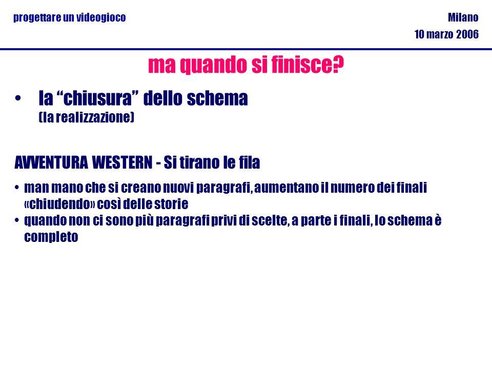 Milano 10 marzo 2006 progettare un videogioco la chiusura dello schema (la realizzazione) ma quando si finisce? AVVENTURA WESTERN - Si tirano le fila