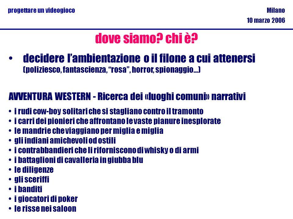 Milano 10 marzo 2006 progettare un videogioco decidere lambientazione o il filone a cui attenersi (poliziesco, fantascienza, rosa, horror, spionaggio…