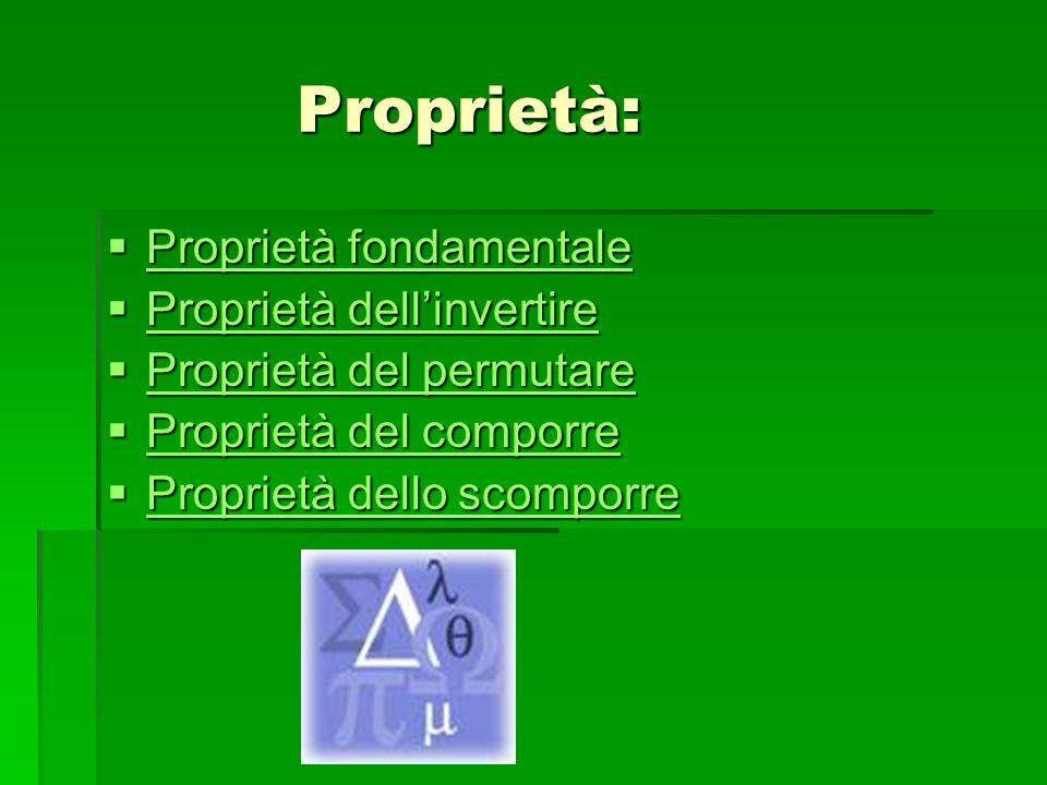 Proprietà: Proprietà: Proprietà fondamentale Proprietà fondamentale Proprietà fondamentale Proprietà fondamentale Proprietà dellinvertire Proprietà de