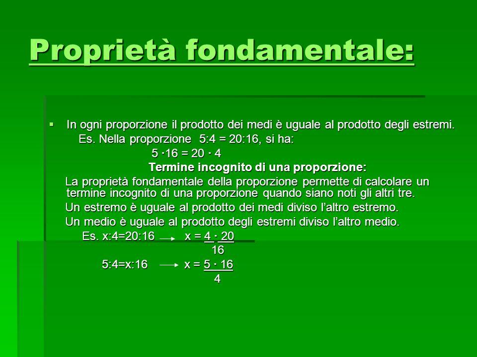 Proprietà fondamentale: Proprietà fondamentale: In ogni proporzione il prodotto dei medi è uguale al prodotto degli estremi. In ogni proporzione il pr
