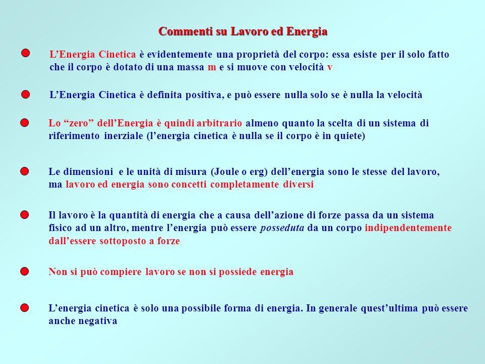Si può compiere lavoro solo possedendo energia, anzi il lavoro è lenergia che si trasferisce da un sistema fisico (sottosistema, corpo, particella, et