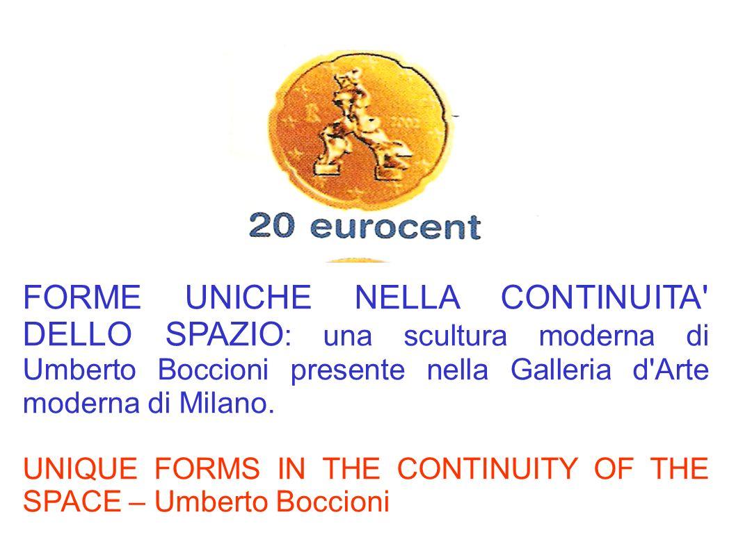 FORME UNICHE NELLA CONTINUITA' DELLO SPAZIO : una scultura moderna di Umberto Boccioni presente nella Galleria d'Arte moderna di Milano. UNIQUE FORMS
