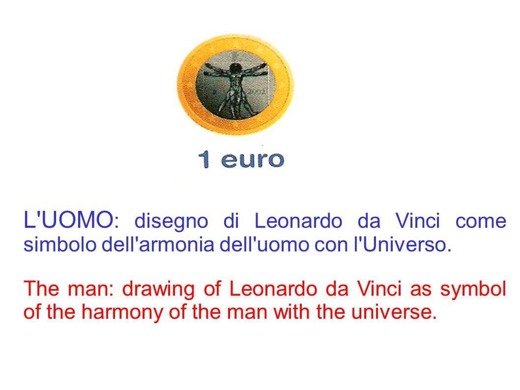 L'UOMO : disegno di Leonardo da Vinci come simbolo dell'armonia dell'uomo con l'Universo. The man: drawing of Leonardo da Vinci as symbol of the harmo