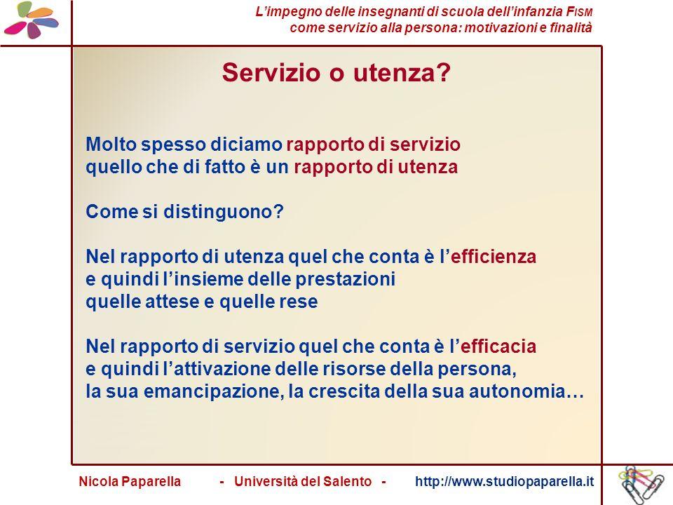 Nicola Paparella - Università del Salento - http://www.studiopaparella.it Servizio o utenza.