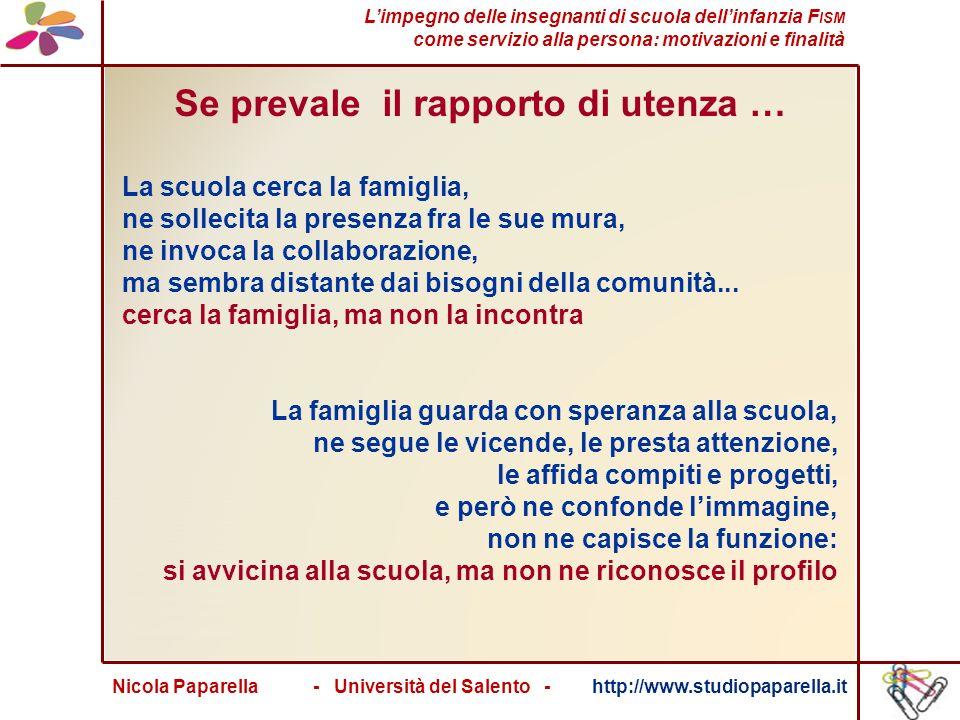 Nicola Paparella - Università del Salento - http://www.studiopaparella.it Se prevale il rapporto di utenza … La scuola cerca la famiglia, ne sollecita la presenza fra le sue mura, ne invoca la collaborazione, ma sembra distante dai bisogni della comunità...