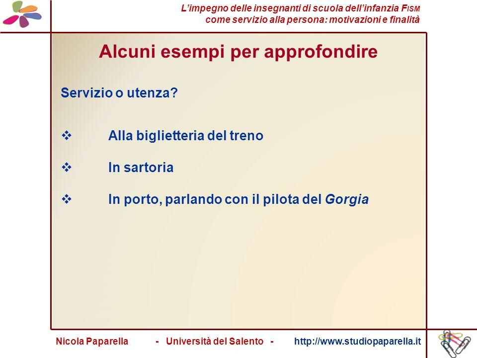 Nicola Paparella - Università del Salento - http://www.studiopaparella.it Alcuni esempi per approfondire Servizio o utenza.