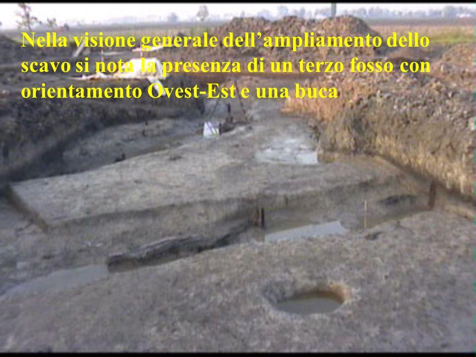 Nella visione generale dellampliamento dello scavo si nota la presenza di un terzo fosso con orientamento Ovest-Est e una buca