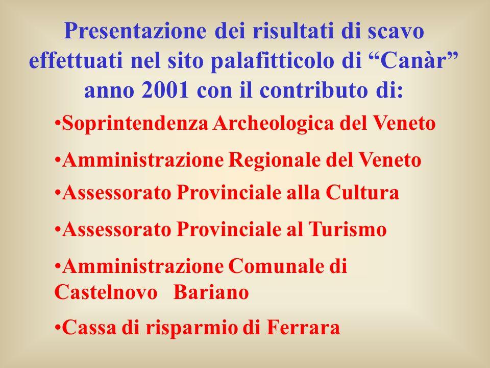 Presentazione dei risultati di scavo effettuati nel sito palafitticolo di Canàr anno 2001 con il contributo di: Amministrazione Regionale del Veneto A
