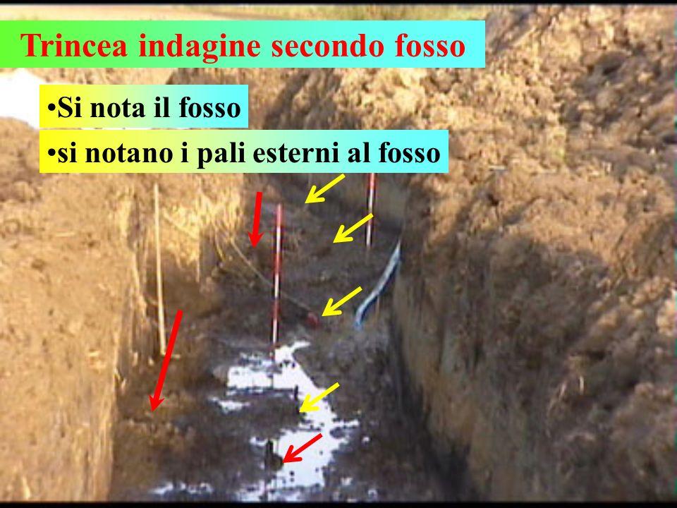 Trincea indagine secondo fosso Si nota il fosso si notano i pali esterni al fosso