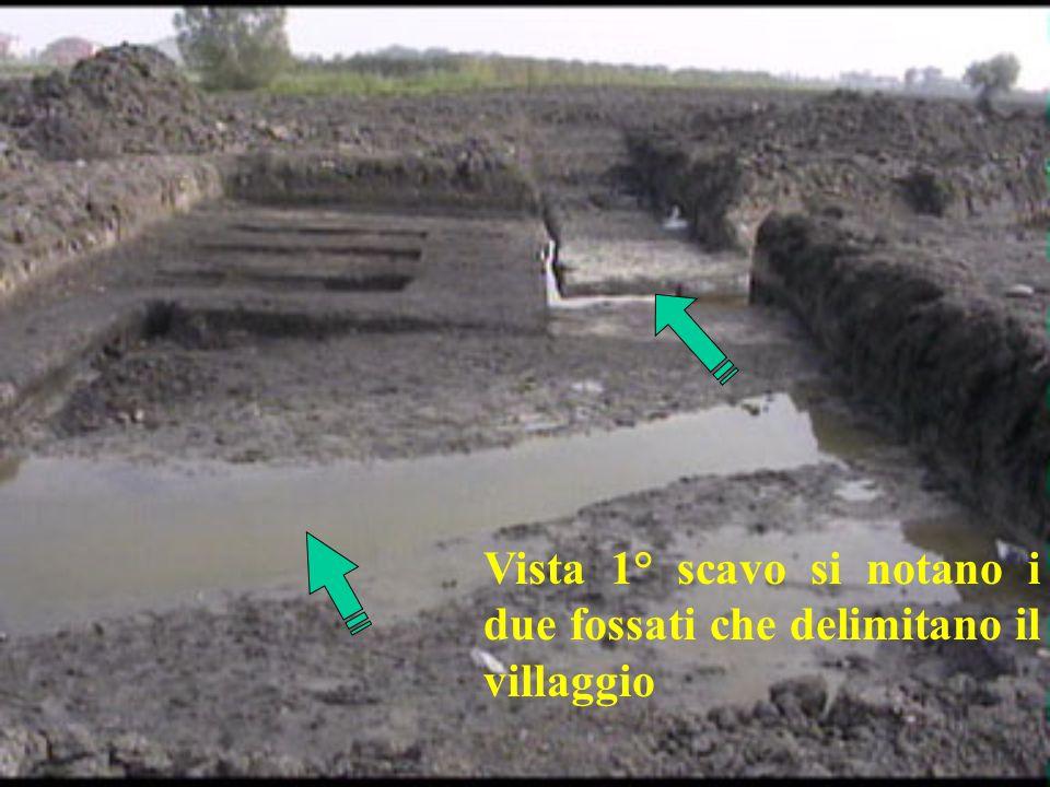 Vista 1° scavo si notano i due fossati che delimitano il villaggio