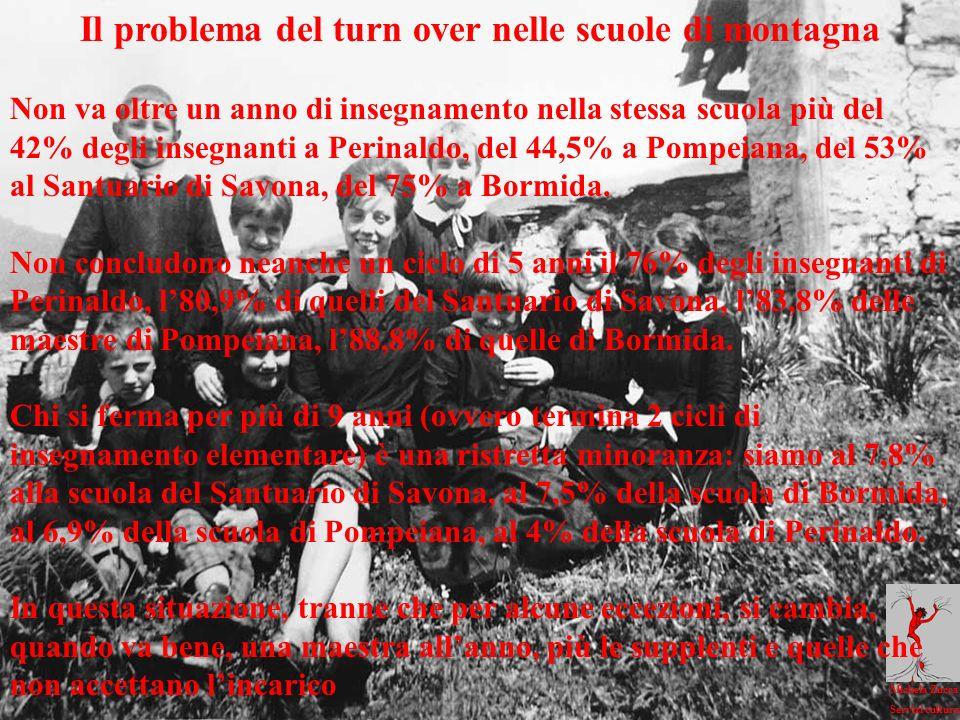 Michela Zucca Servizi culturali Il problema del turn over nelle scuole di montagna Non va oltre un anno di insegnamento nella stessa scuola più del 42% degli insegnanti a Perinaldo, del 44,5% a Pompeiana, del 53% al Santuario di Savona, del 75% a Bormida.