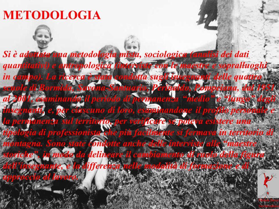 Michela Zucca Servizi culturali METODOLOGIA Si è adottata una metodologia mista, sociologica (analisi dei dati quantitativi) e antropologica (interviste con le maestre e sopralluoghi in campo).