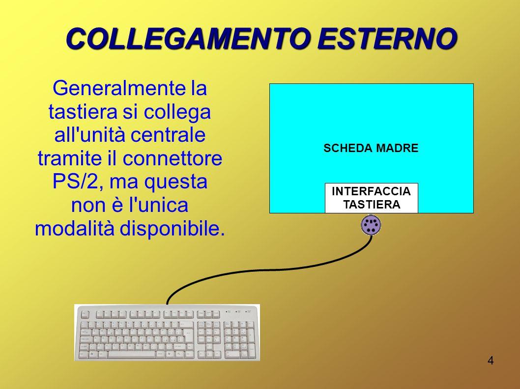 4 SCHEDA MADRE COLLEGAMENTO ESTERNO INTERFACCIA TASTIERA Generalmente la tastiera si collega all unità centrale tramite il connettore PS/2, ma questa non è l unica modalità disponibile.