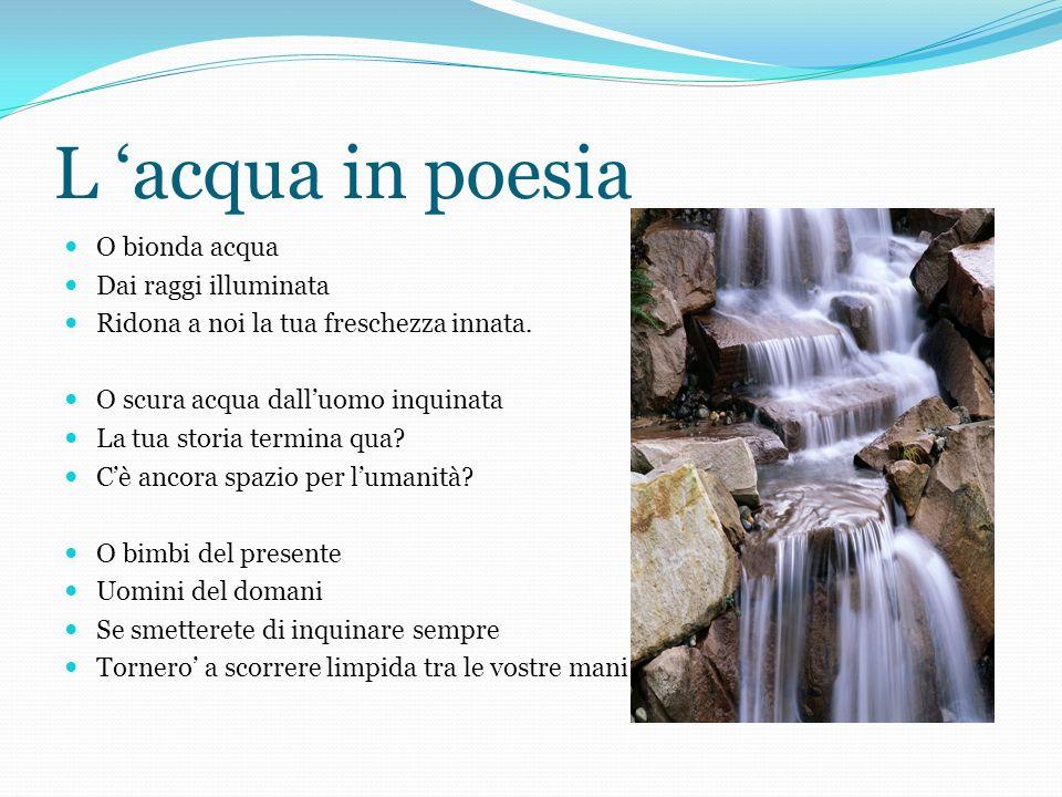 L acqua in poesia O bionda acqua Dai raggi illuminata Ridona a noi la tua freschezza innata. O scura acqua dalluomo inquinata La tua storia termina qu