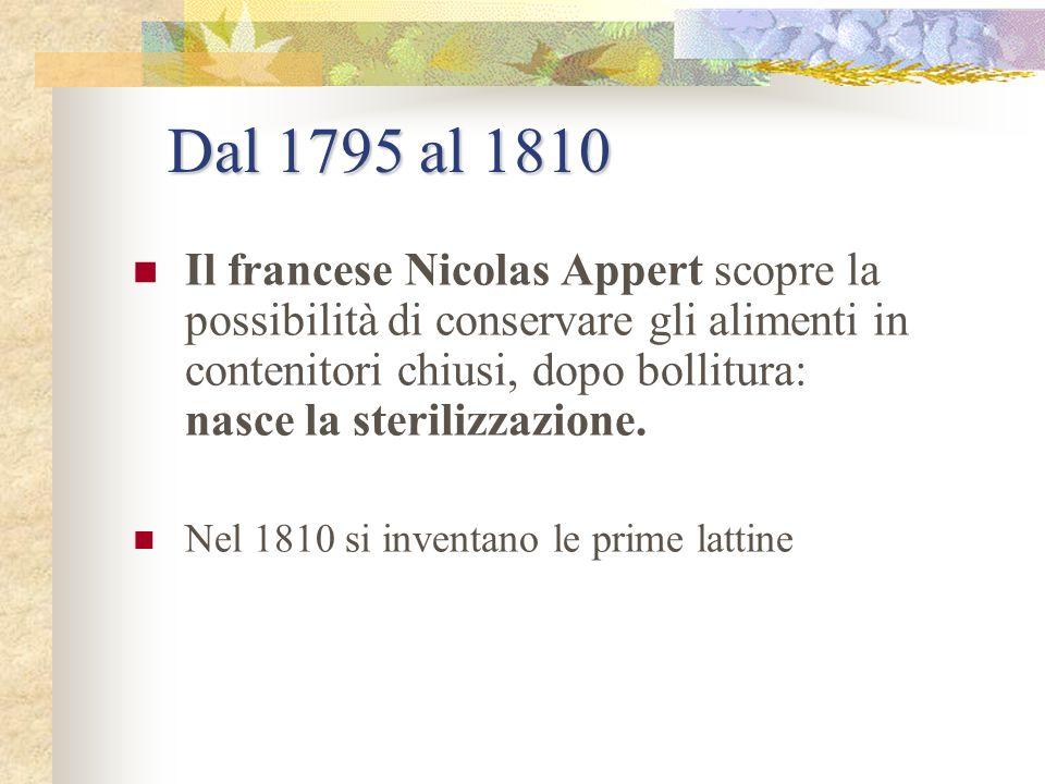 Dal 1600 al 1790 Conservazione con lo zucchero si producono le prime confetture e marmellate Dopo la rivoluzione Francese, Beauvilliers, ex cuoco di L