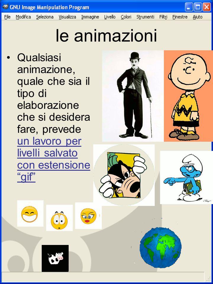 le animazioni Qualsiasi animazione, quale che sia il tipo di elaborazione che si desidera fare, prevede un lavoro per livelli salvato con estensione g