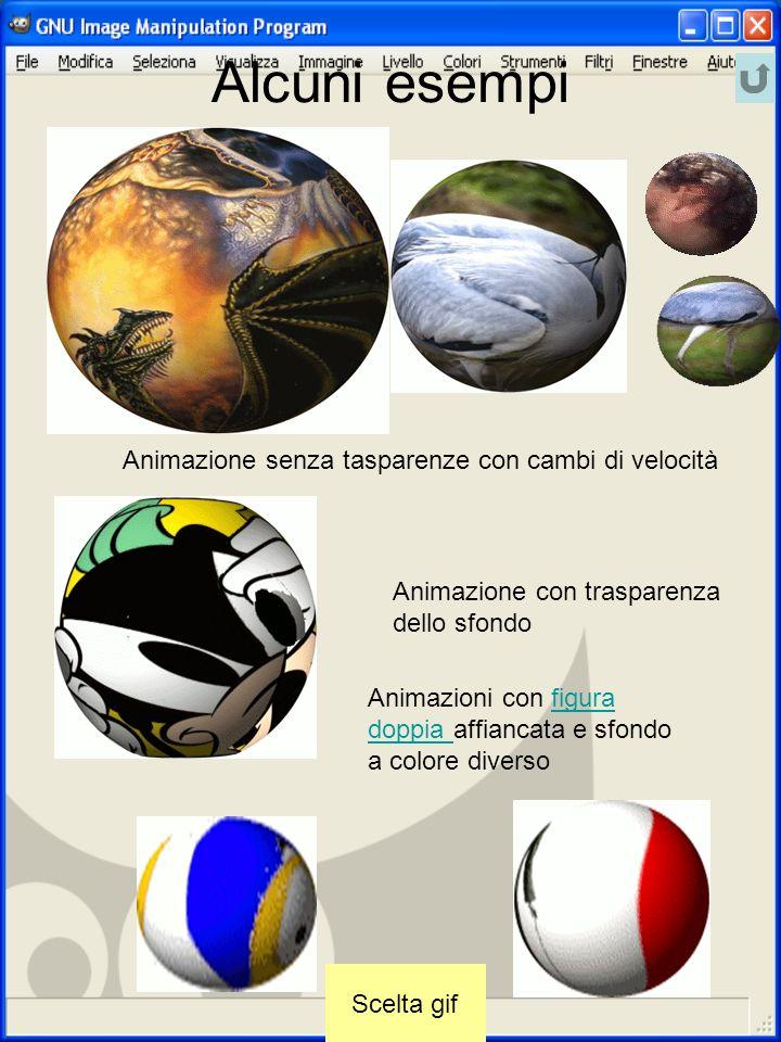 Alcuni esempi Animazione senza tasparenze con cambi di velocità Animazione con trasparenza dello sfondo Animazioni con figura doppia affiancata e sfon