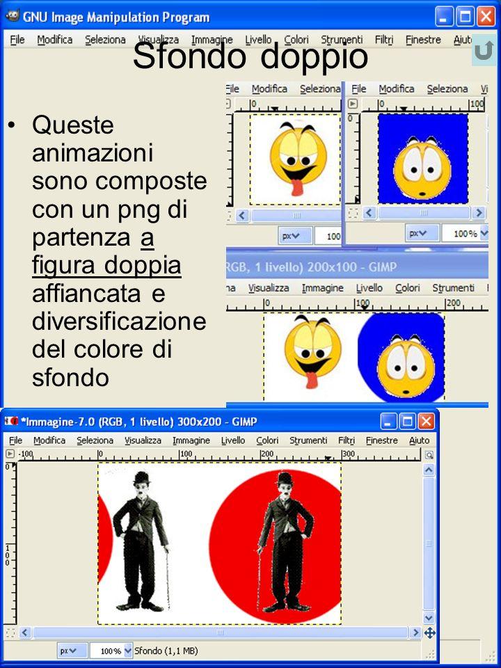 Sfondo doppio Queste animazioni sono composte con un png di partenza a figura doppia affiancata e diversificazione del colore di sfondo
